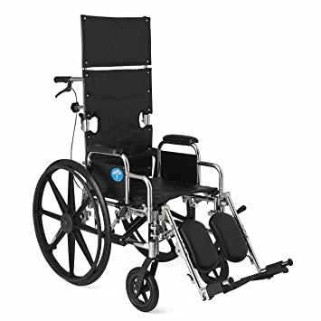 Medline Reclining Wheelchair 20u0026quot; Wide Seat Desk Length Arms Elevating Legrests  sc 1 st  Amazon.com & Amazon.com: Medline Reclining Wheelchair 20