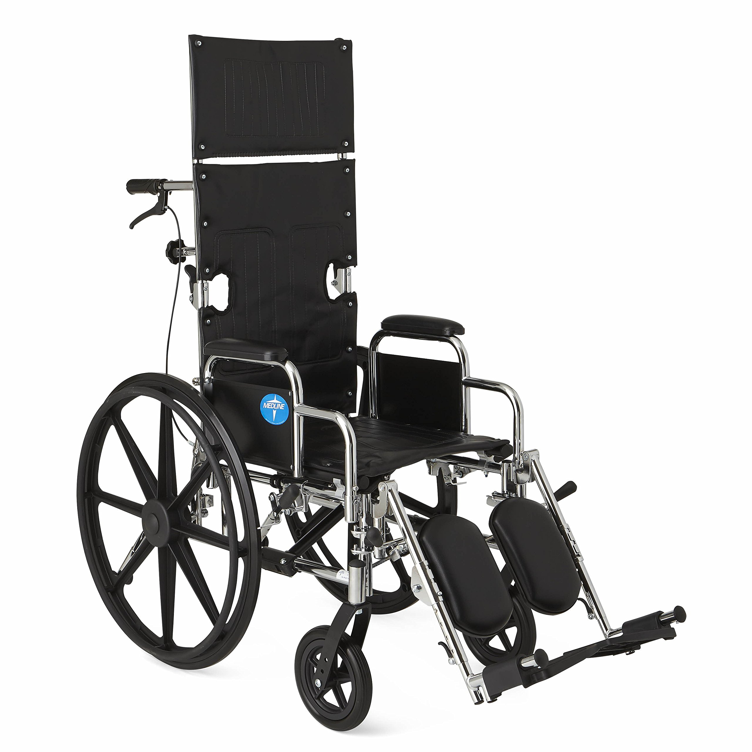 Medline Reclining Wheelchair, 20'' Wide Seat, Desk Length Arms, Elevating Legrests, Chrome Frame