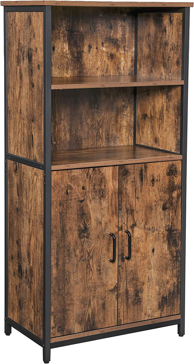 Vasagle Floor Standing Cabinet Storage Cabinet Kitchen Cupboard With 2 Open Compartments 1 Adjustable Shelf Behind Doors Multifunctional Industrial Style Rustic Brown And Black Lsc66bx Amazon Co Uk Kitchen Home