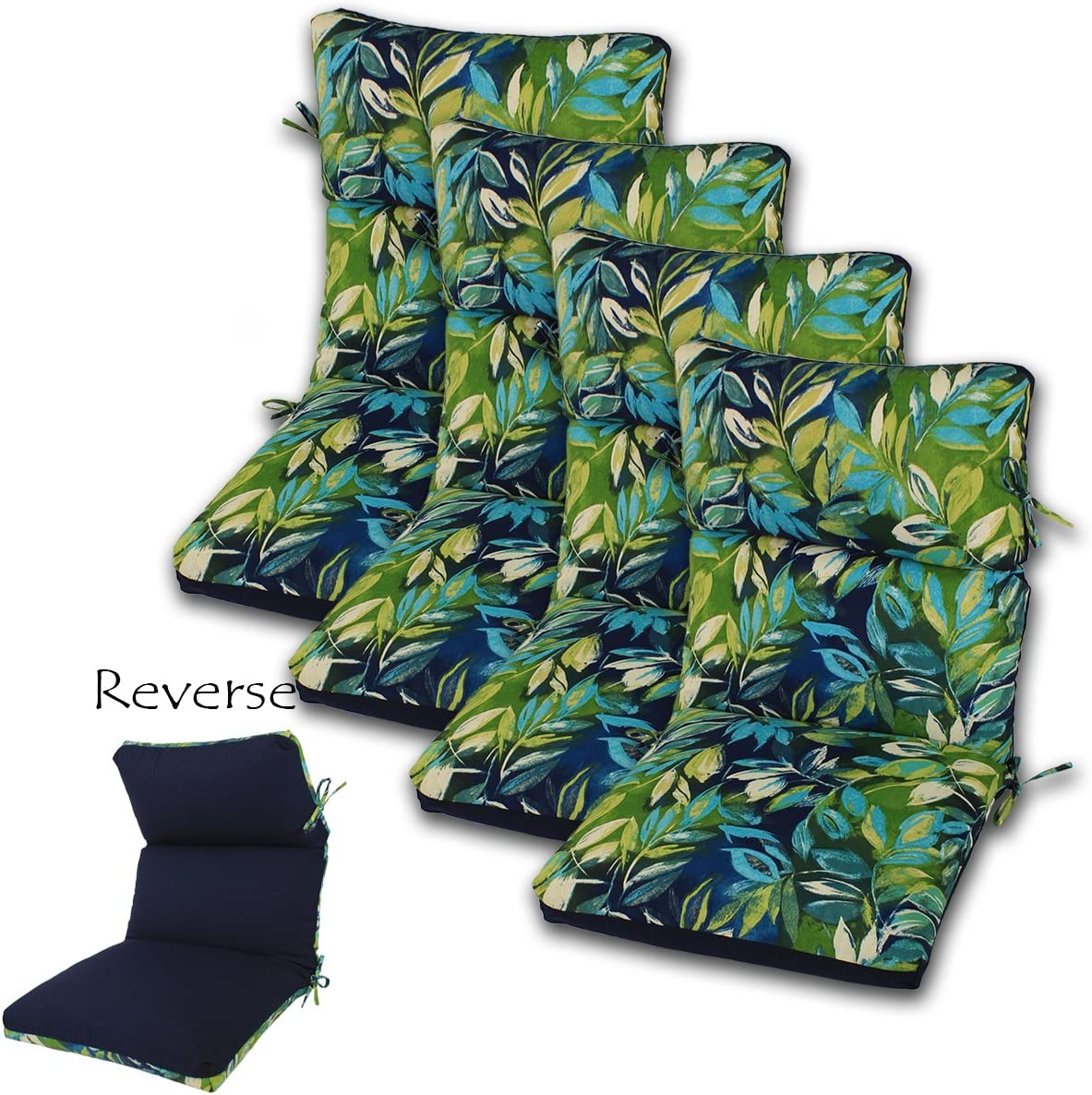 Comfort Classics Inc. Set of 4 22W x 44L x 5H Hinge at 24 Spun Polyester Outdoor CHANNELED Reversible Chair Cushion in Seabreeze Lagoon-Solid Navy