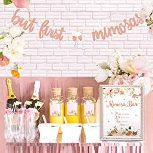 Mimosa Bar Sign But First Mimosas Banner Boho Floral Bridal Shower Decorations Rose Gold Baby Shower Graduation Decor Summer Brunch Bubbly Bar Themed Wedding Engagement Birthday Party Mimosa Bar Kit