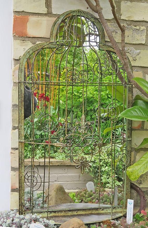 Ornate jaula de pájaros jardín espejo con acabado Vintage: Amazon.es: Jardín