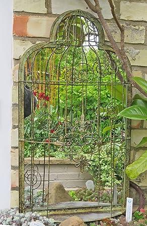 Ornate Bird Cage Garden Mirror With Vintage Finish