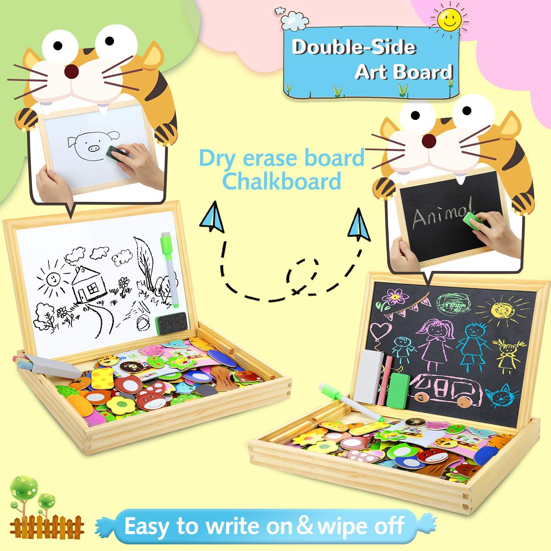COOLJOY Puzzle Magnetico Legno Animale Educativo Regalo per Bambini 3 Anni 4 Anni 5 Anni Giocattolo di Legno con Lavagna Double Face Graffiti Quasi 100 Parti Colorate