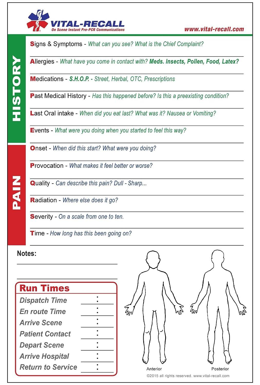 Amazon com: Vital-Recall EMT PCR Self-Guided Form - - 100