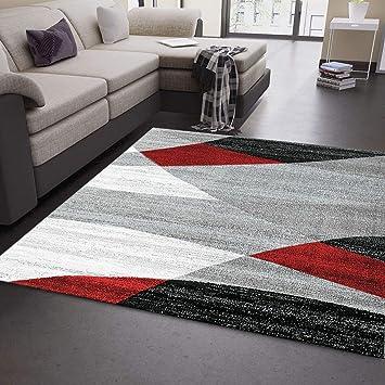 Vimoda Moderne Salon Tapis Géométrique Motif Moucheté Marron Beige - Öko  Tex Certifié - Rouge, 120cm x 170cm