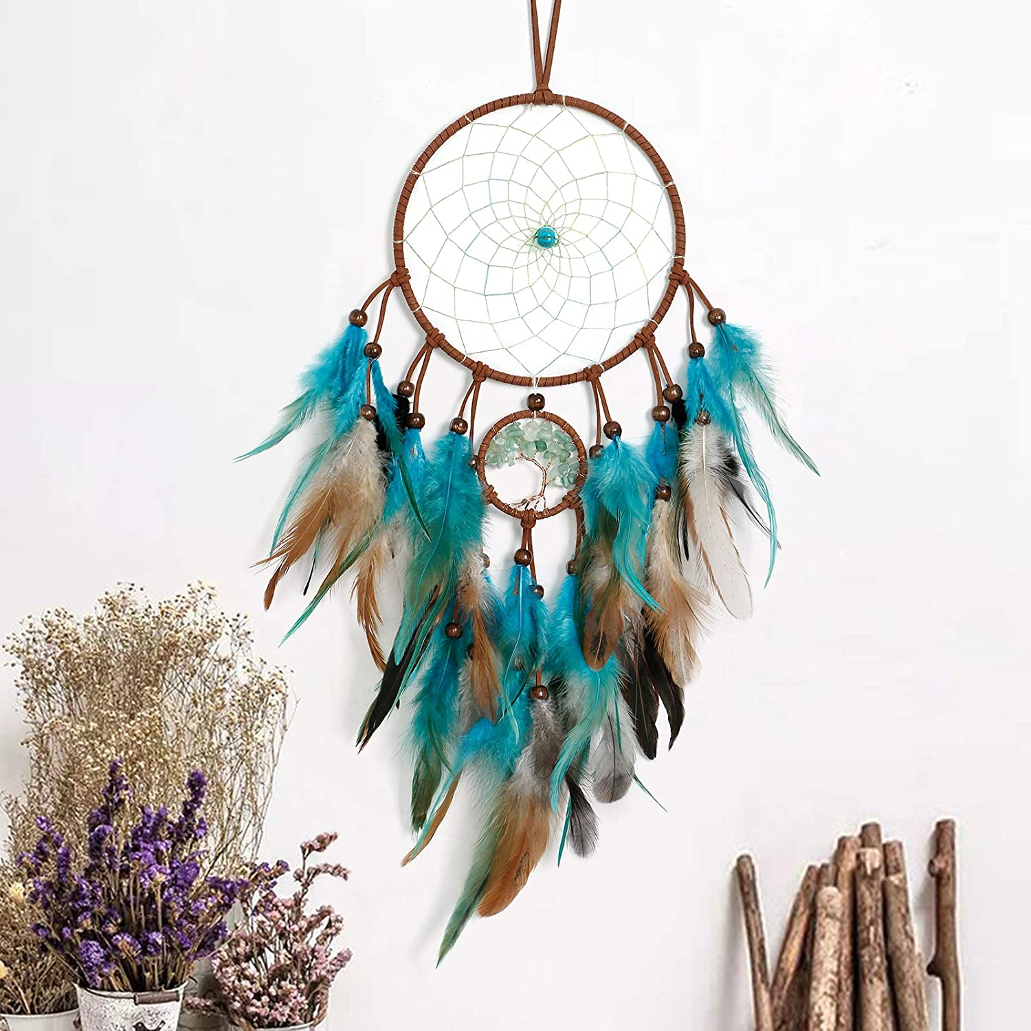 LOMOHOO Dream Catcher Tree of Life Double Circle Handmade Traditional Feather Dreamcatcher Wall Art Hanging Boho Bedroom Decor Bohemian Sitting Room Home Decoration Ornament Craft