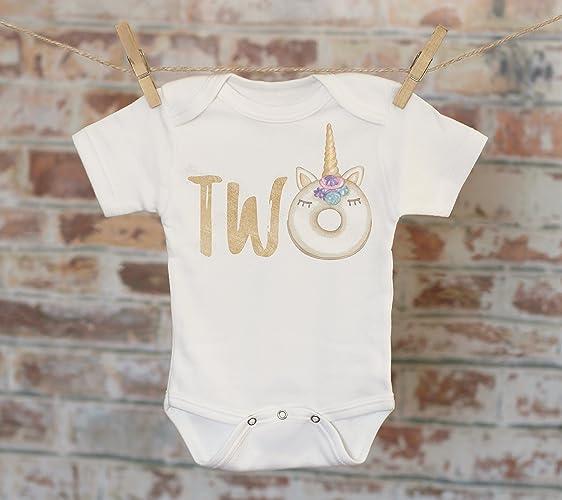 Two Unicorn Donut T Shirt Second Birthday 2nd Customized