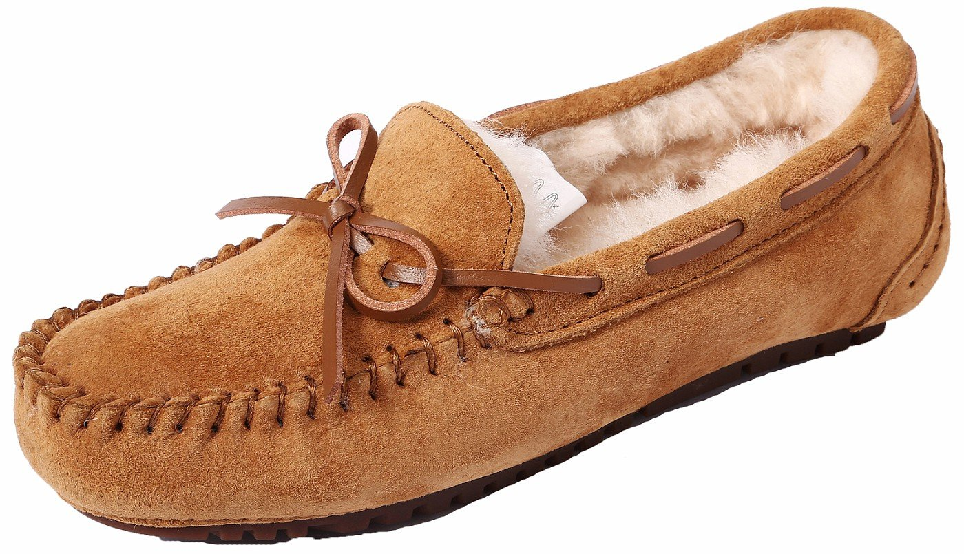 Women's Suede Wool Slipper Casual Flat Indoor&Outdoor Slip-on Loafer ChestPS6