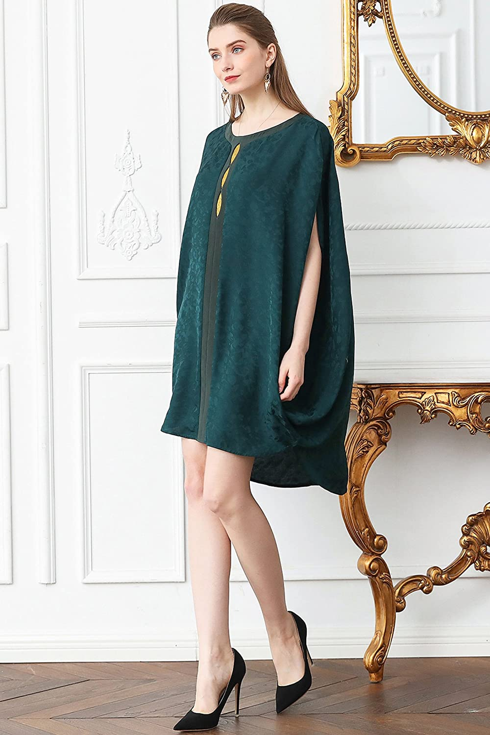 f20115b1a90d5 VOA Women s Silk Forest Green High Low Shirt O-Neck 3 4 Sleeve Loose B120  at Amazon Women s Clothing store