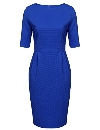 ANGVNS Women 1950s Vintage Half Sleeve Boat Neck Pencil Dress with Pockets