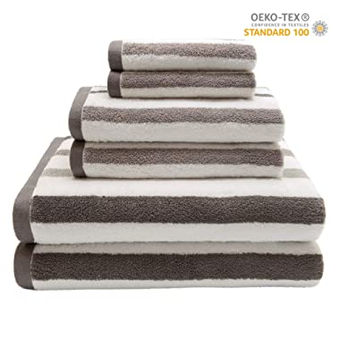 QUEEN HOME TEXTILES Ultra Soft 6 Piece Striped Bath Towel Set- 100% Long Staple Ringspun Cotton - 2 Bath Towels, 2 Hand Towels, 2 Washcloths - Super Absorbent (Stripe Brown)