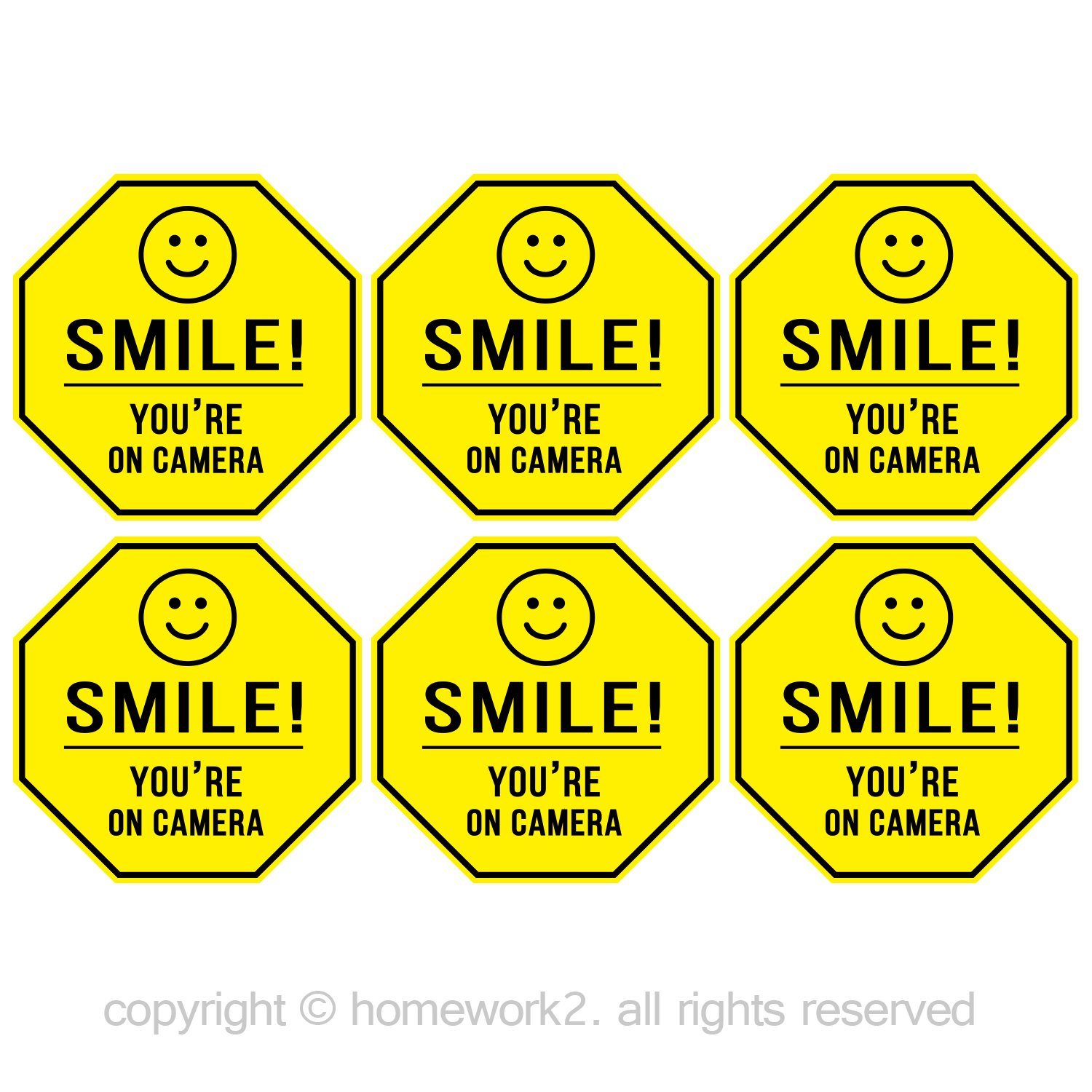 Smile You're On Camera Stickers, Yellow Octagon-Shaped, 84mm X 84mm Vinyl Decals - Indoor & Outdoor Use, UV Protected & Waterproof - 6 Labels Homework2