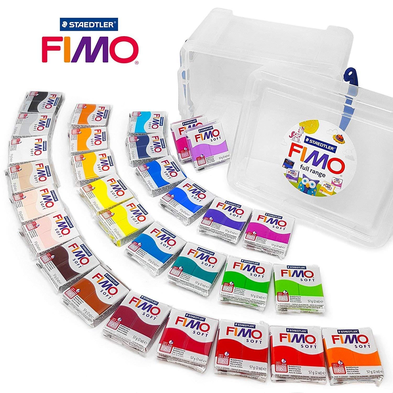FIMO Soft 57 g Polymer-Modelliermasse zum Backen im Ofen - Set mit 30 Farben in transparentem Aufbewahrungsrohr Staedtler