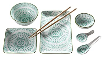 Mäser, Serie Dalian, Sushi Set 7 Tlg, Porzellan Geschirr Set Dekoriert