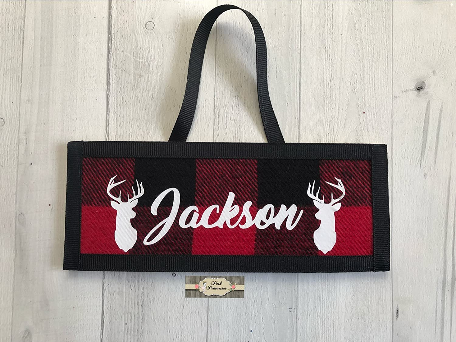 Personalized Wall Plaque - Baby Boys Nursery Door Plaque Buffalo Plaid Deer Any Name Color