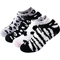 SKOLA Women Super Soft Non-Slip Slipper Socks Fluffy Microfiber Grip Socks Home Sleeping Fuzzy Cozy Sock 4Pairs