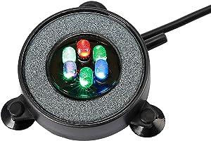 Nicrew multi-colored LED aquarium air stone disk