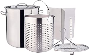 ARC All Purpose Cooking Pot Stainless Steel Stockpot Crawfish Seafood boil Turkey Fryer Pot with Basket Divider and Hook, Perfect for Tamale steaming or home brewing, 64 QT 16 Gallon