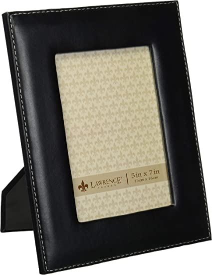 Lawrence Frames Black Leather 5 By 7 Picture Frame Amazon Co Uk Kitchen Home