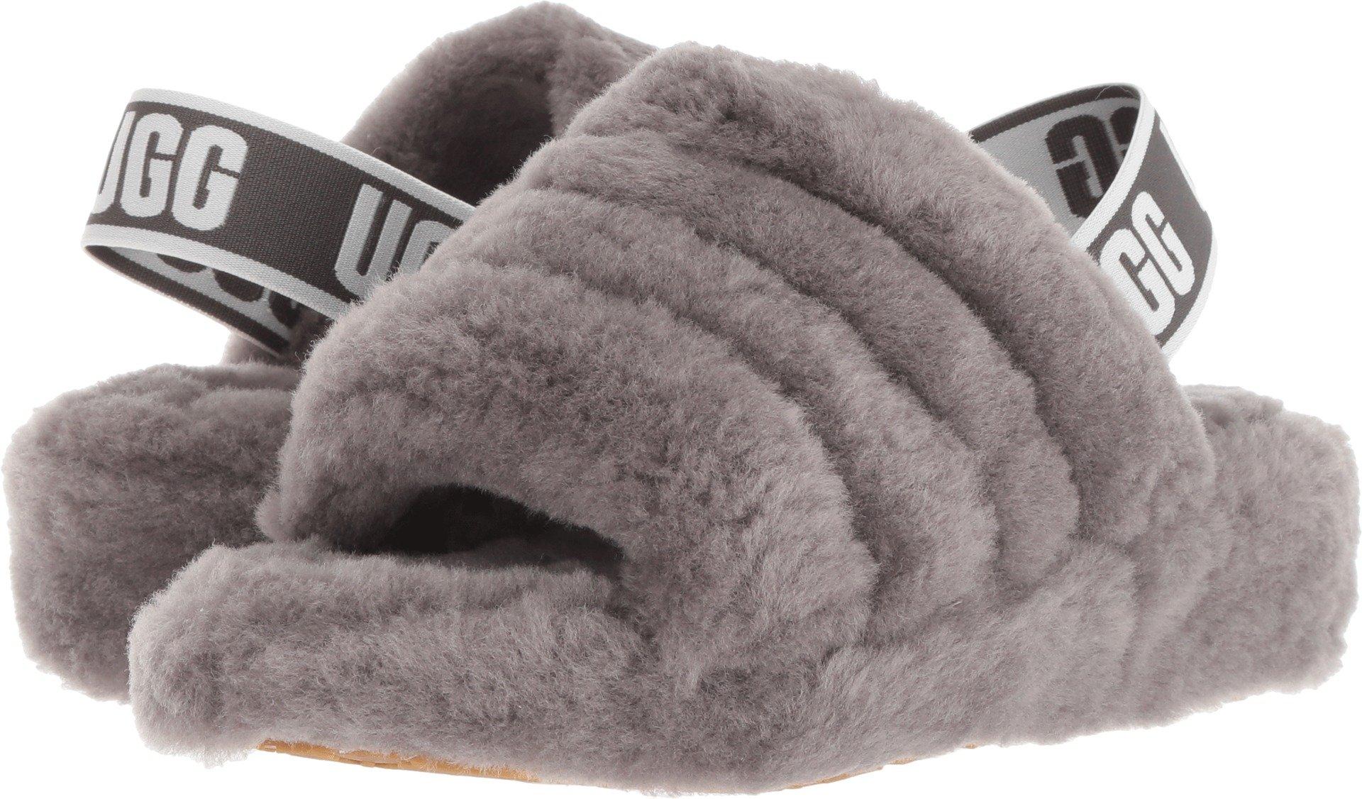 UGG Women's Fluff Yeah Slide Sandal, Charcoal, 7 M US