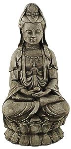 Kuan Yin Sitting Garden Statue Concrete Asian Sculpture