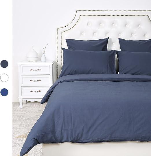 HOMFY - Juego de cama doble de 3 unidades en algodón, con 1 funda de edredón y 2 fundas de almohada de 63 x 63 cm, gris oscuro, 200 x 200 cm: Amazon.es: Hogar