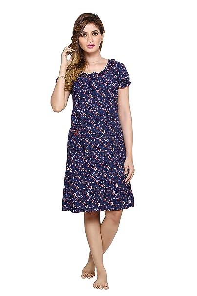 PDPM Women s Short Rayon Nighty Nightwear Night Dress Sleepwear Gown ... 0db3315dd