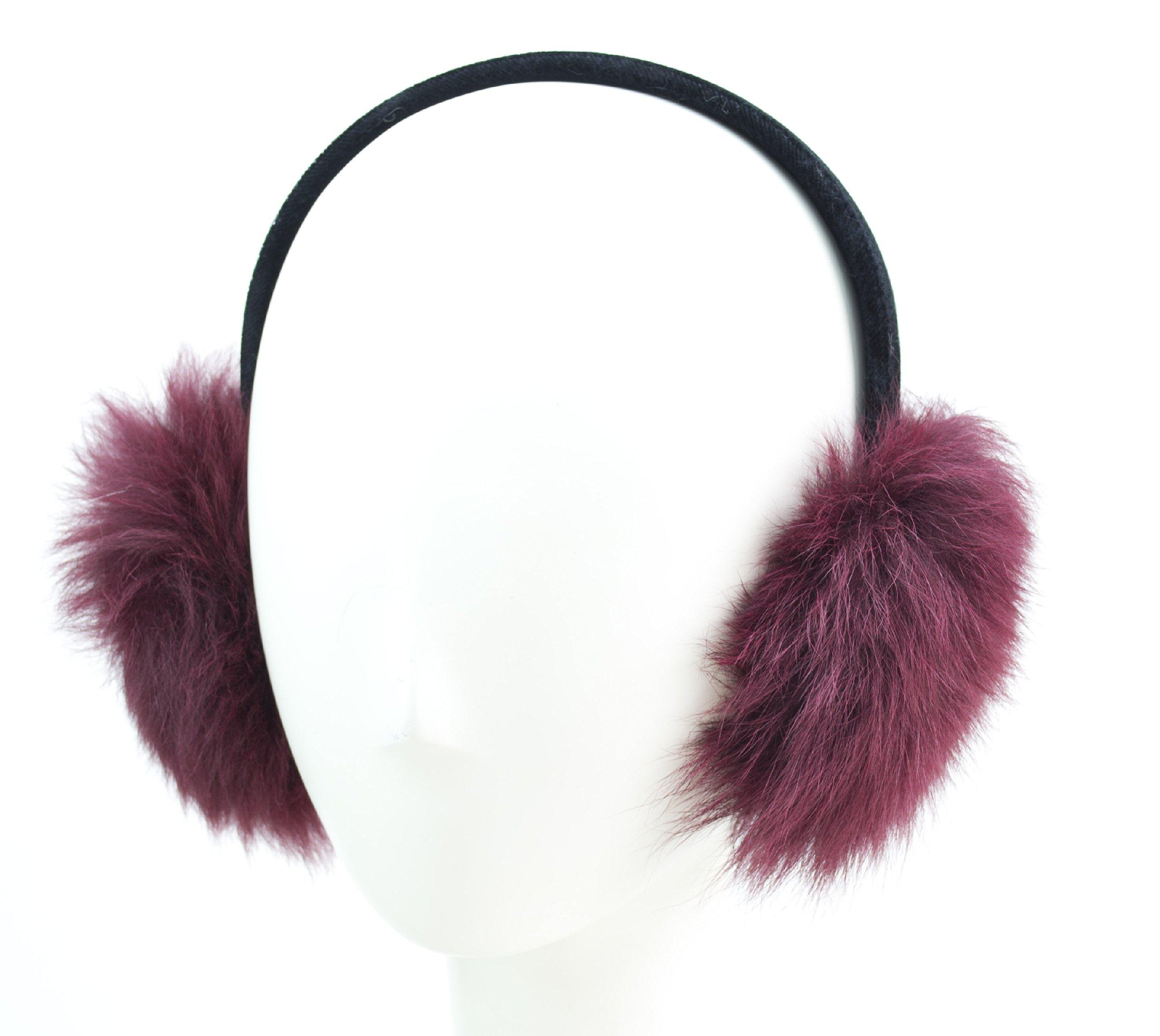 Toscana Sheepskin Fur Earmuff on Velvet Band (Wine)