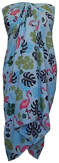 e1bb4ba920ba Sarong 37 Women Flamingo Printed Beach Swimsuit Wrap One Size Pareo Aqua  Blue