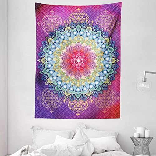Ambesonne Mandala Tapestry, Arrangement with Geometric Zigzag Shape and Blossoming Flowers Bohemian Oriental, Wall Hanging for Bedroom Living Room Dorm, 60 X 80 , Purple Yellow