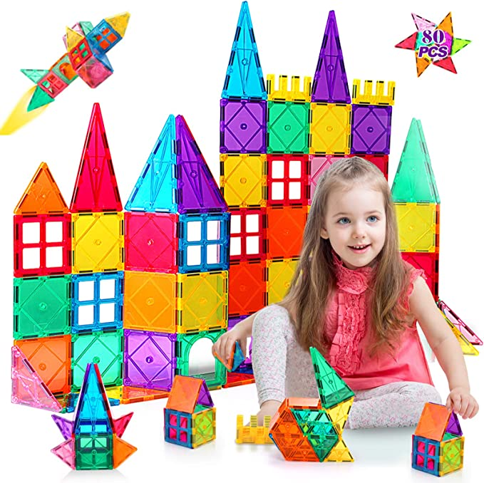 ASOK Magnetic Blocks Magnetic Tiles 3D Castle Educational Learning and Development Toys for 3 4 5 6 7 8 9 Years Old Boys Girls Kids 133pcs
