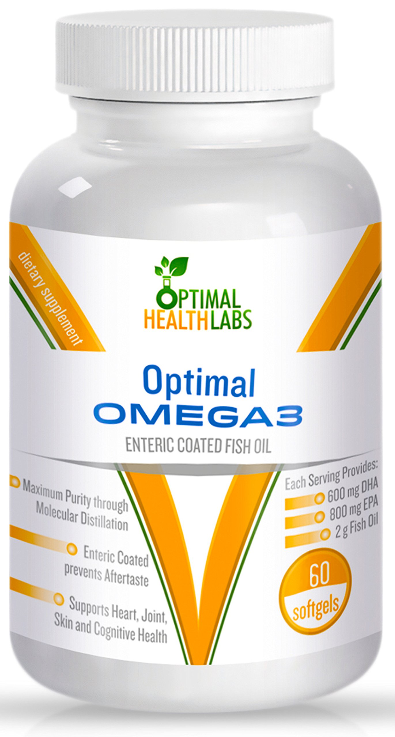 Omega 3 Fish Oil Burpless Pills | Perfectly Balanced 600mg DHA 800mg EPA Supplement | Maximum Absorption | Ideal Potency | No Toxins | All The Best Benefits, No Fishy Aftertaste! by Optimal Health Labs