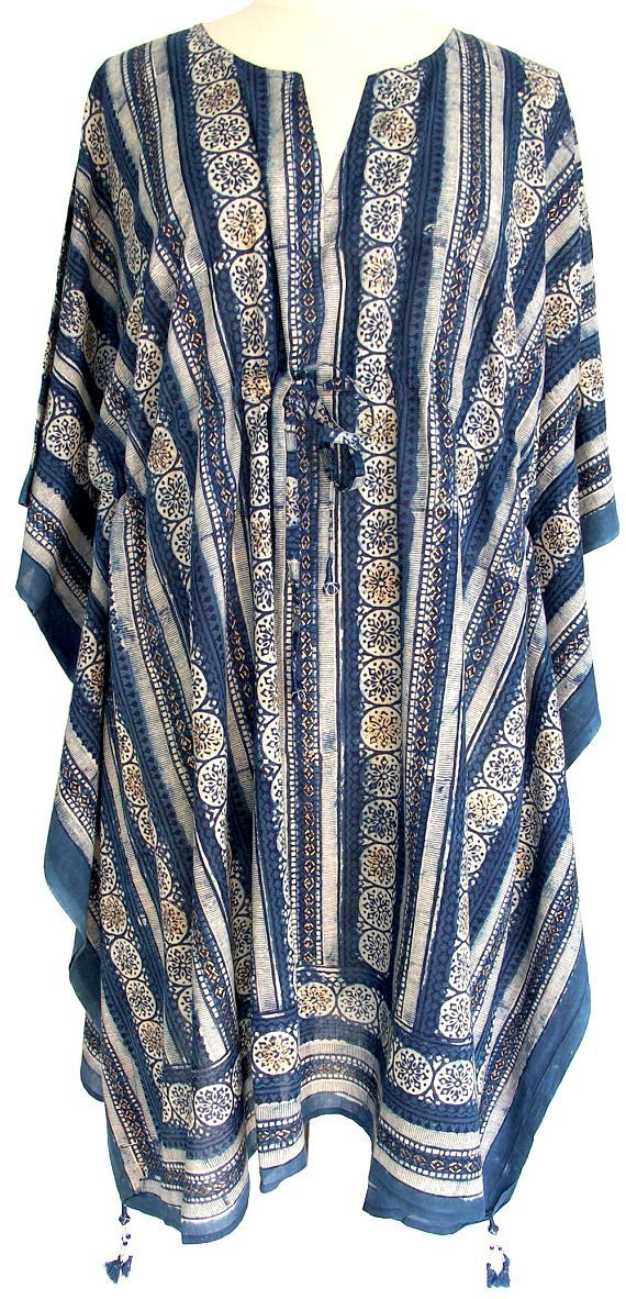 e244c80a423 Amazon.com: Rich Organic Indigo Floral Stripe Anokhi Hand Block Print  Indian cotton Kaftan Tunic top One size: Handmade