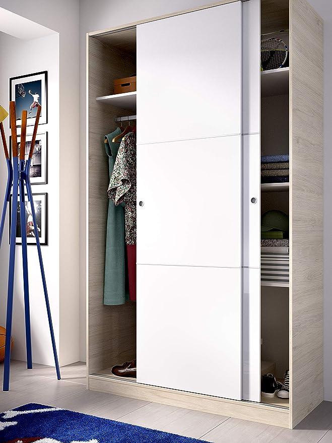 HOMEKIT Armario 2 Puertas correderas, Natural y Blanco Brillo, 120x204x50cm: Amazon.es: Juguetes y juegos