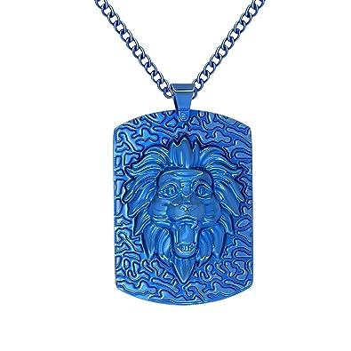 amazon com arrow jewelry stainless steel blue ip plated tone lion