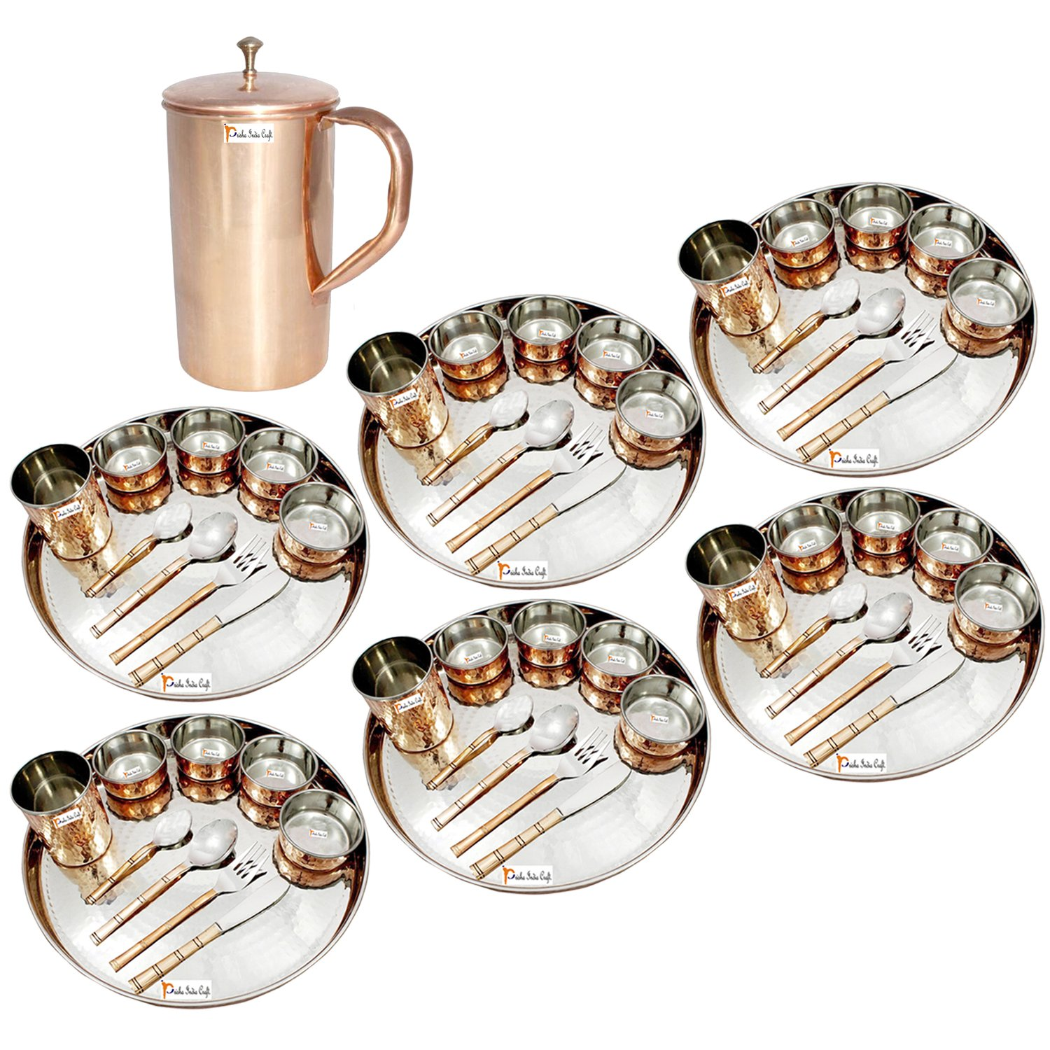 Prisha India Craft ® Set of 6 Dinnerware Traditional Stainless Steel Copper Dinner Set of Thali Plate, Bowls, Glass and Spoons, Dia 13'' With 1 Pure Copper Classic Pitcher Jug - Christmas Gift