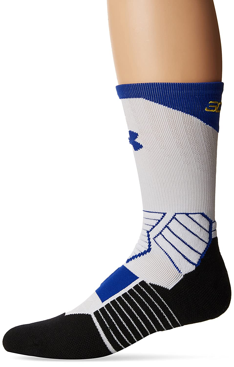 Under Armour Basketball Curry Crew Socks, White/Royal, Size 9-11 ...