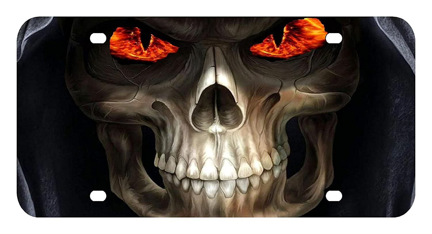 L21 GRIM REAPER SKULL License Plate Front Custom Novelty Tag Vanity Frame Holder Wrap Wraps Sign Factory