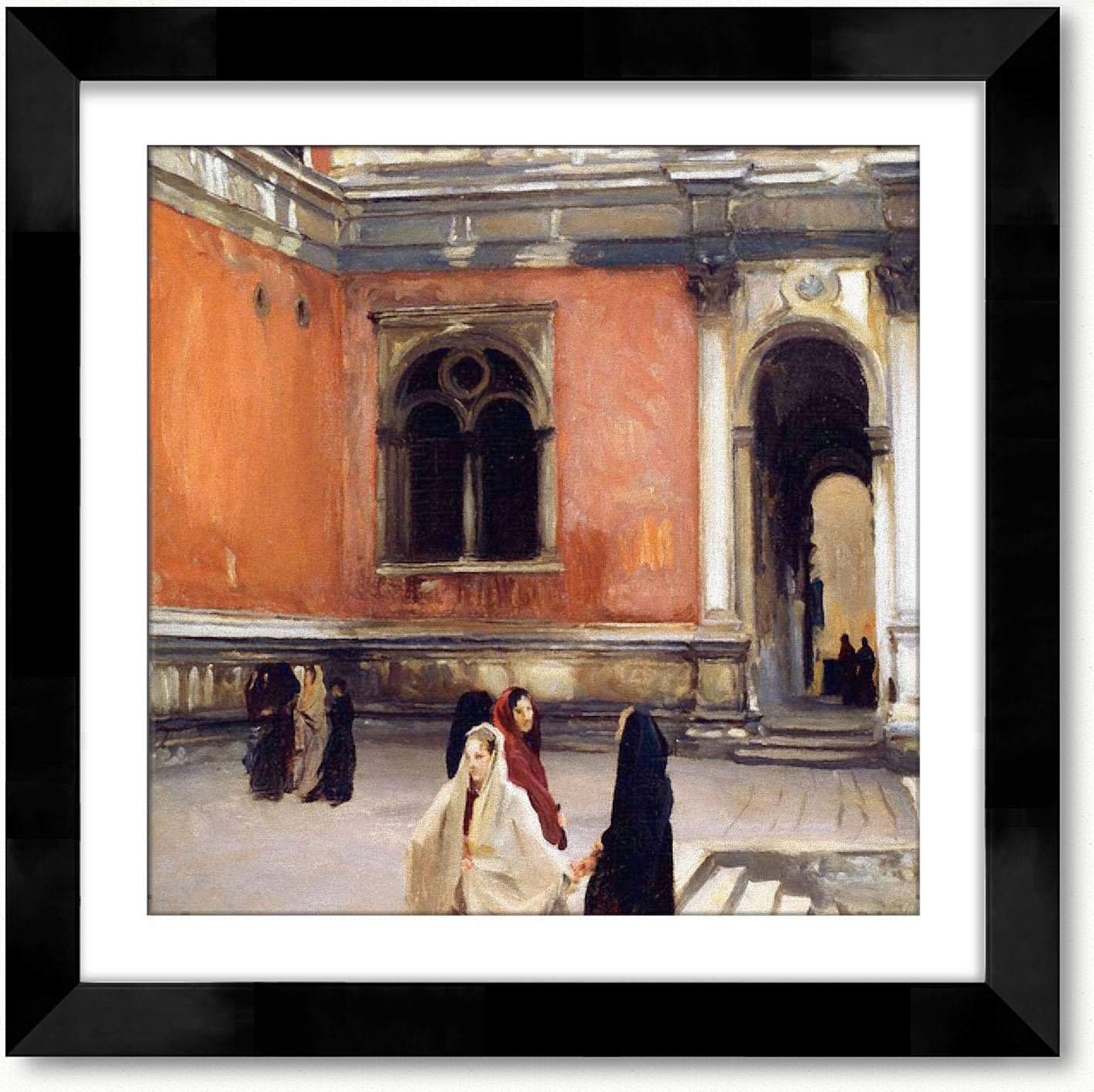 Campo Behind The Scuola Di San Rocco (Aka An Inner Courtyard Of La Scuila Di San Rocco Venice) Framed Oil on Canvas Painting with Matboard by John Singer Sargent