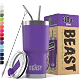 BEAST 30oz Purple Tumbler - Stainless Steel Insulated Coffee Cup with Lid, 2 Straws, Brush & Gift Box