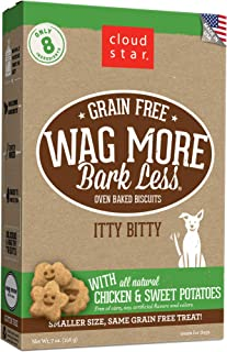 product image for Cloud Star Wag More Bark Less, Grain Free Itty Bitty, Crunchy Biscuit Dog Treats, Made in USA