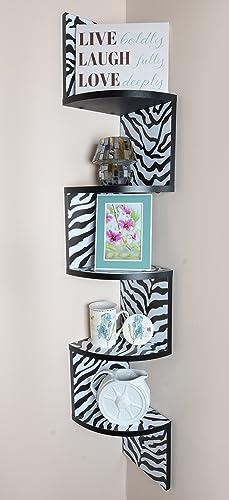 Adorn Large 5-Tier Corner Shelf, Wall Mount, Zebra with Black Edging