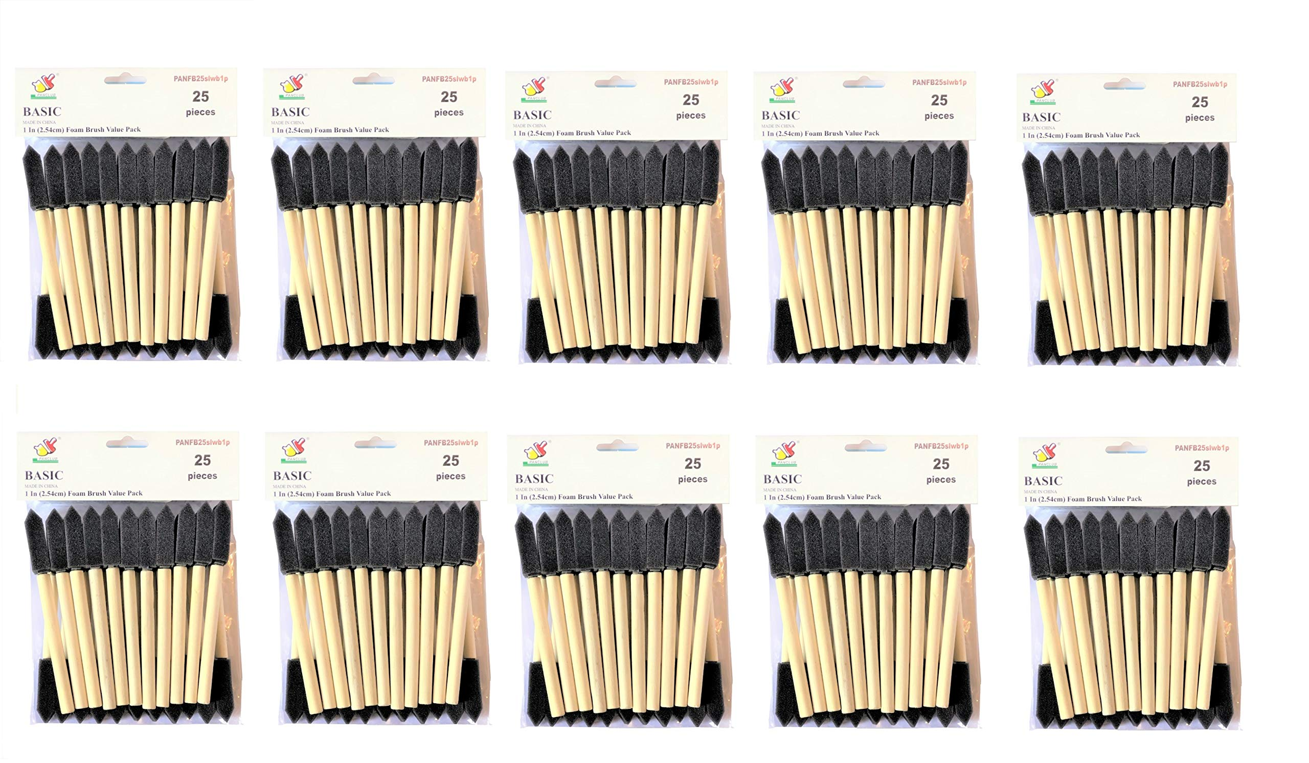 PANCLUB Paint Foam Brush Value Pack 1 Inch - 25 Per/Pack 10 Packs | with Wood Handles | Great for Art, Varnishes, Acrylics, Stains, Crafts by PANCLUB