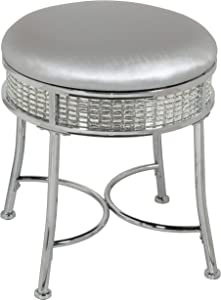 Hillsdale Furniture Glam Backless Diamond Band Vanity Stool, Chrome