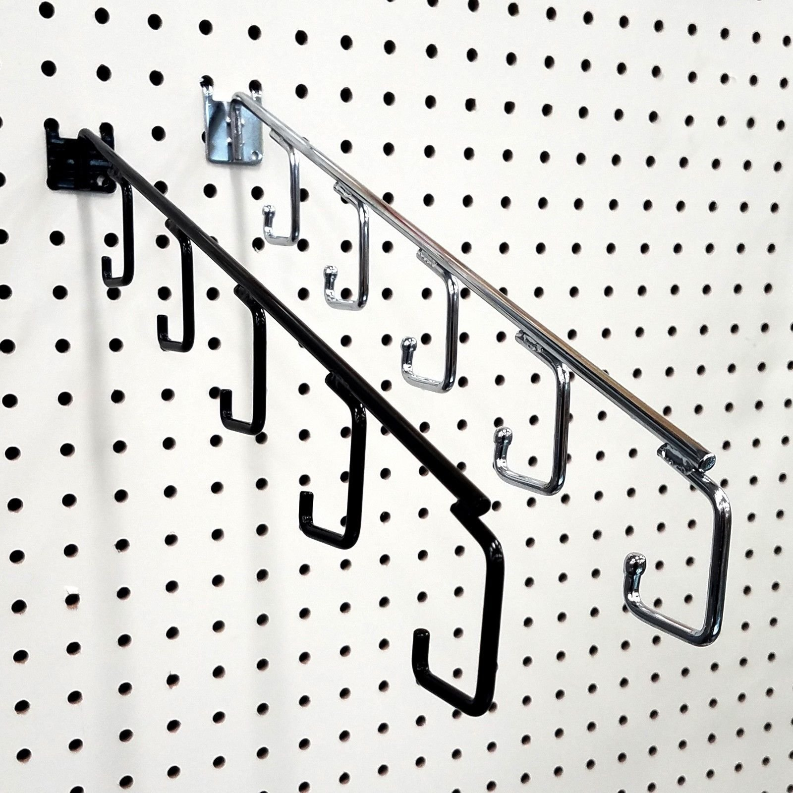 15'' L Pegboard 5 Hook Waterfall Faceout Hook, Black - 25 Pack