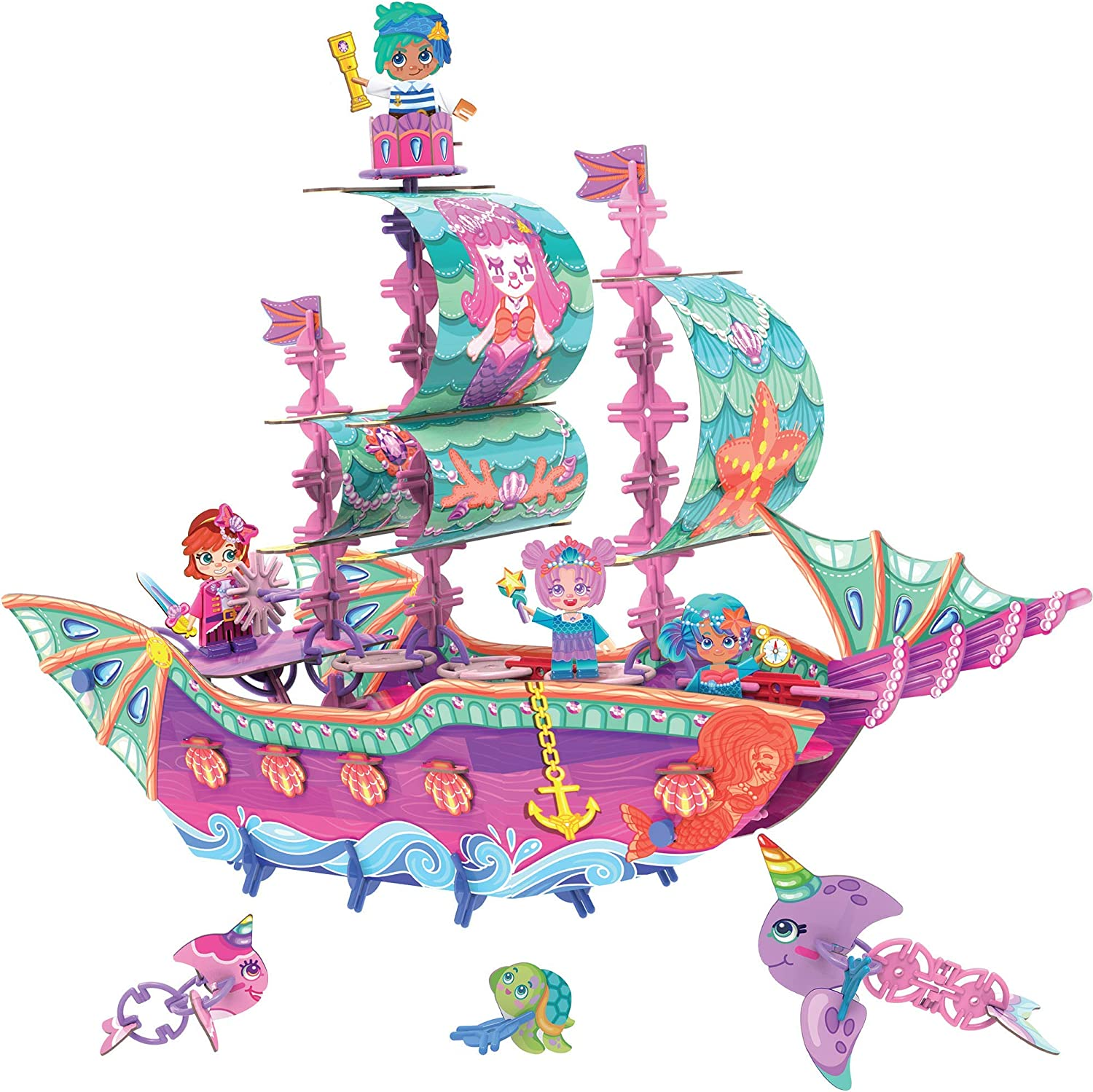 PINXIES Marvelous Mermaid Ship Kids Play Set, Build-Your-Own Magical Toy - STEM Toy for Girls Ages 6-10