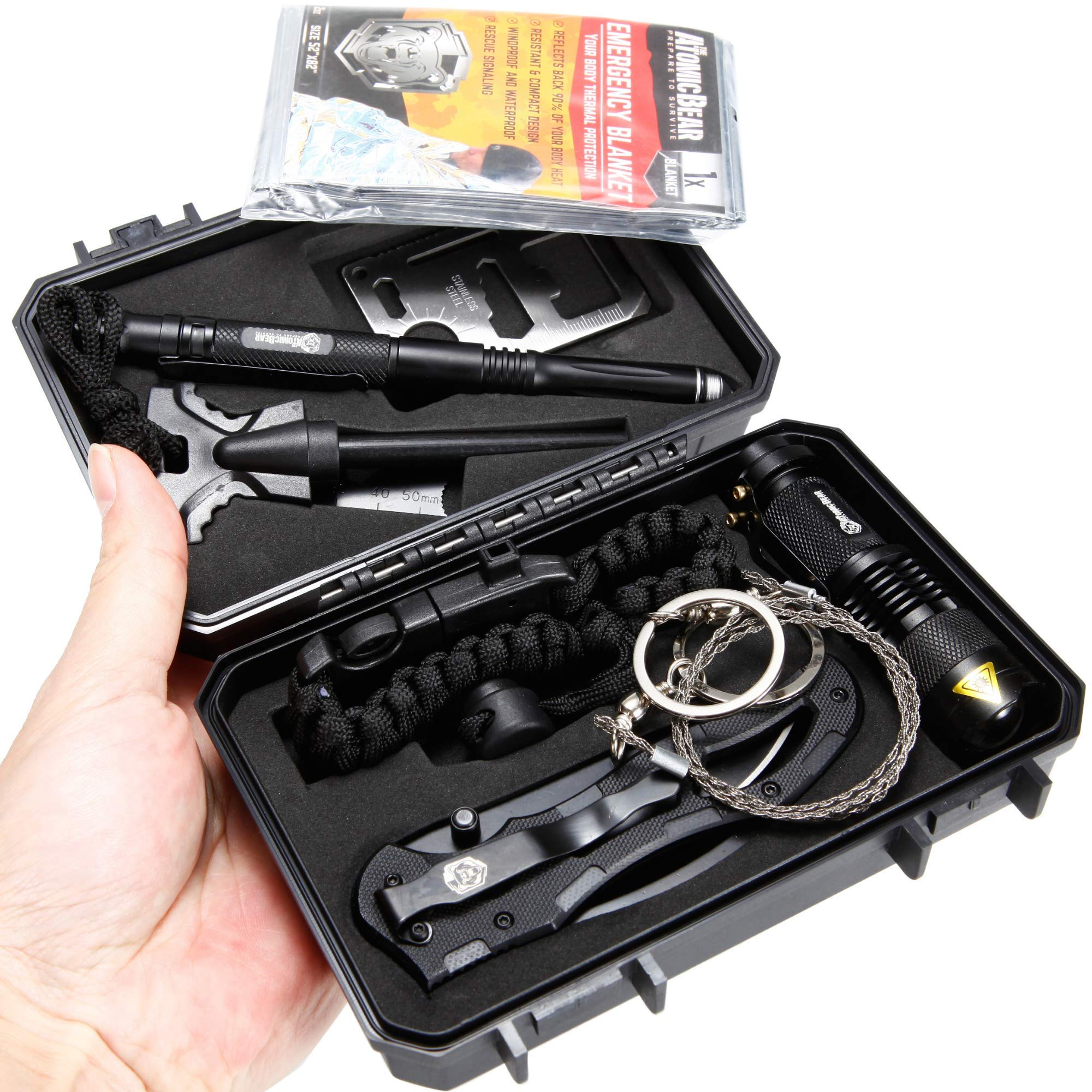 Survival Kit for Emergency and EDC - Premium Survival Gear from Atomic Bear: Tactical Knife, MTP6 Pen, Tactical Flashlight, Adjustable Survival Bracelet, Fire Starter, Multi Tool Card, Wire Saw by The Atomic Bear