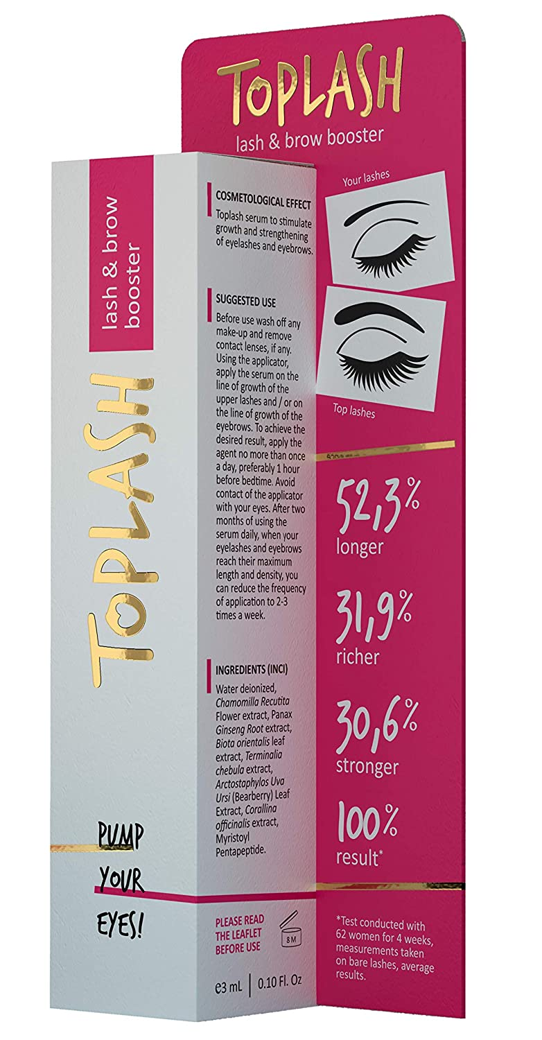 4237956f0fb Amazon.com: Toplash Eyebrow and Eyelash Growth Serum for Women (2-in-1)  Natural Lash and Brow Enhancer for Longer, Thicker, Healthier Lashes, ...