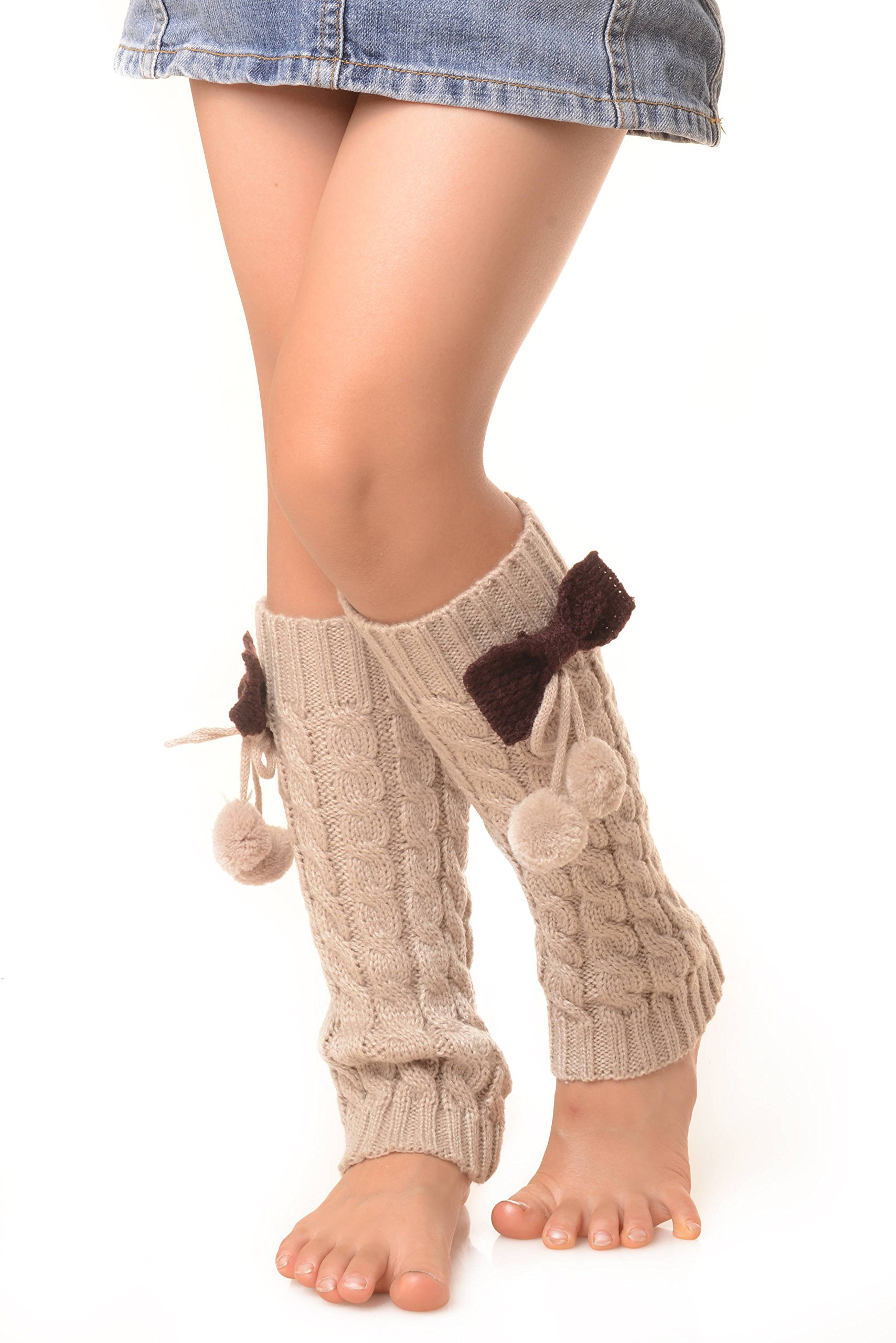 ICONOFLASH Girl's Cable Knit Leg Warmers with Bow